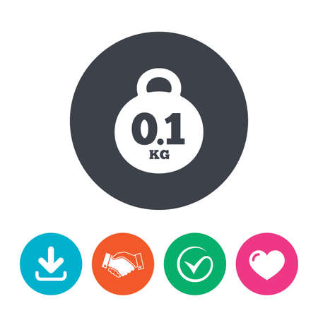 01: Weight sign icon. 0.1 kilogram (kg). Envelope mail weight. Download arrow, handshake, tick and heart. Flat circle buttons. Illustration