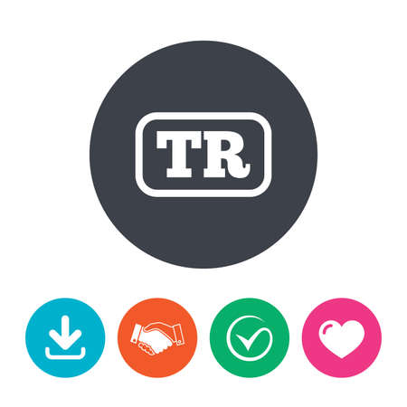 tr: Turkish language sign icon. TR Turkey translation symbol with frame. Download arrow, handshake, tick and heart. Flat circle buttons.