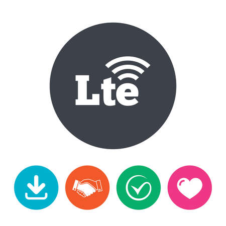 longterm: 4G LTE sign icon. Long-Term evolution sign. Wireless communication technology symbol. Download arrow, handshake, tick and heart. Flat circle buttons.