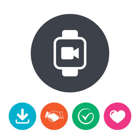 watch video: Smart watch sign icon. Wrist digital watch. Video camera symbol. Download arrow, handshake, tick and heart. Flat circle buttons. Illustration