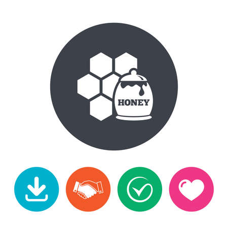 honeycomb like: Honey in pot and honeycomb sign icon. Honey cells symbol. Sweet natural food. Download arrow, handshake, tick and heart. Flat circle buttons.
