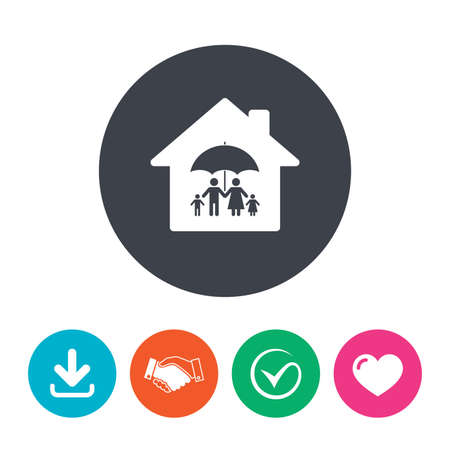 arrow home: Complete family home insurance sign icon. Umbrella symbol. Download arrow, handshake, tick and heart. Flat circle buttons.