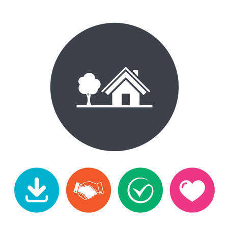 arrow home: Home sign icon. House with tree symbol. Download arrow, handshake, tick and heart. Flat circle buttons.