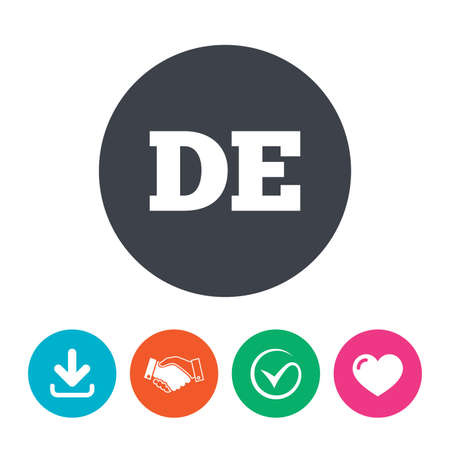 deutschland: German language sign icon. DE Deutschland translation symbol. Download arrow, handshake, tick and heart. Flat circle buttons.