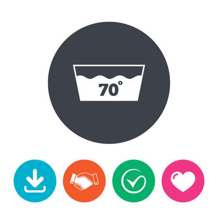 washbowl: Wash icon. Machine washable at 70 degrees symbol. Download arrow, handshake, tick and heart. Flat circle buttons.