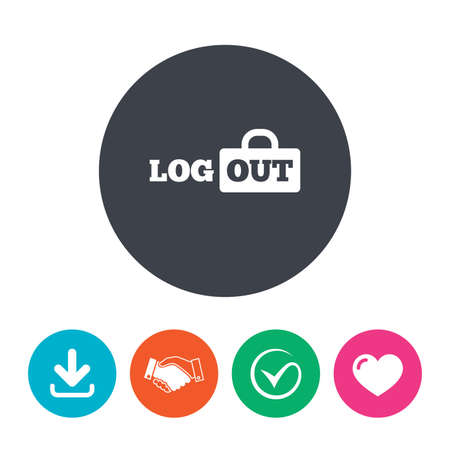lock out: Logout sign icon. Sign out symbol. Lock icon. Download arrow, handshake, tick and heart. Flat circle buttons. Illustration