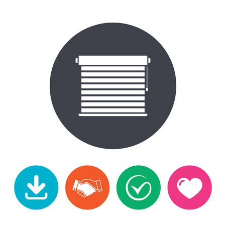 quality check: Louvers sign icon. Window blinds or jalousie symbol. Download arrow, handshake, tick and heart. Flat circle buttons. Illustration