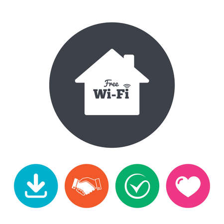 arrow home: Home wifi sign. Wifi symbol. Wireless Network icon. Wifi zone. Download arrow, handshake, tick and heart. Flat circle buttons. Illustration