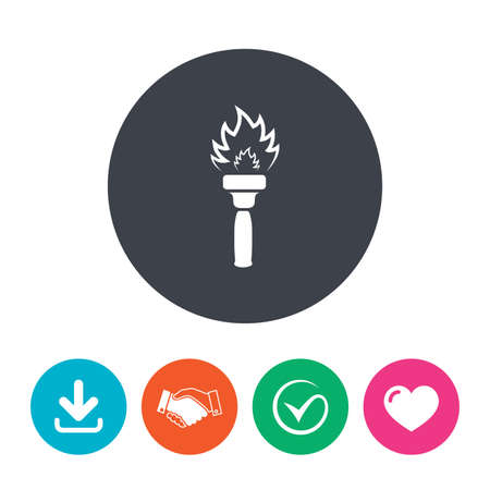 torch flame: Torch flame sign icon. Fire flaming symbol. Download arrow, handshake, tick and heart. Flat circle buttons.