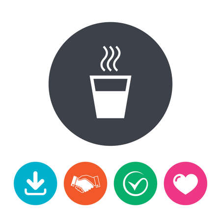evaporation: Hot water sign icon. Hot drink glass symbol. Download arrow, handshake, tick and heart. Flat circle buttons.