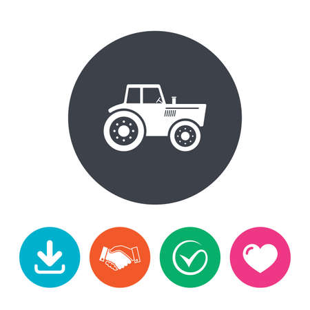 tractor sign: Tractor sign icon. Agricultural industry symbol. Download arrow, handshake, tick and heart. Flat circle buttons. Illustration