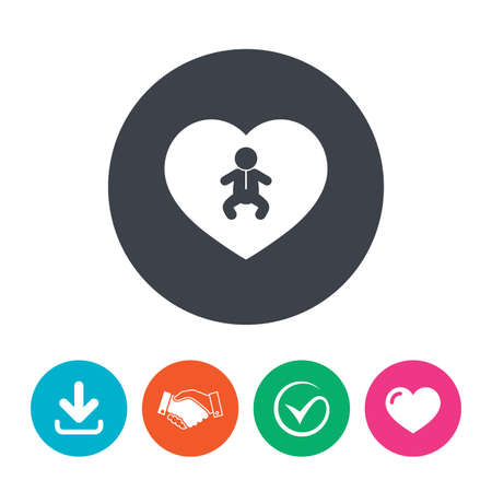 crawlers: Love Baby infant sign icon. Toddler boy in pajamas or crawlers body symbol. Child WC toilet. Download arrow, handshake, tick and heart. Flat circle buttons.