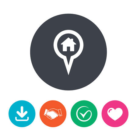 arrow home: Map pointer house sign icon. Home location marker symbol. Download arrow, handshake, tick and heart. Flat circle buttons.