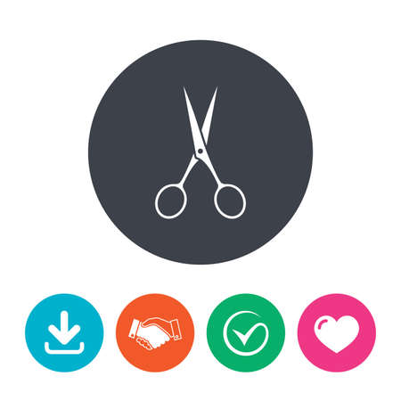 disclosed: Scissors hairdresser sign icon. Tailor symbol. Download arrow, handshake, tick and heart. Flat circle buttons.