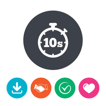 seconds: Timer 10 seconds sign icon. Stopwatch symbol. Download arrow, handshake, tick and heart. Flat circle buttons. Illustration