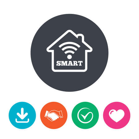 arrow home: Smart home sign icon. Smart house button. Remote control. Download arrow, handshake, tick and heart. Flat circle buttons.