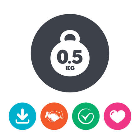 kilogram: Weight sign icon. 0.5 kilogram (kg). Envelope mail weight. Download arrow, handshake, tick and heart. Flat circle buttons.