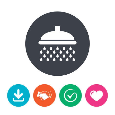 douche: Shower sign icon. Douche with water drops symbol. Download arrow, handshake, tick and heart. Flat circle buttons.