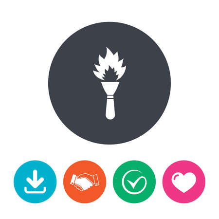 heart burn: Torch flame sign icon. Fire flaming symbol. Download arrow, handshake, tick and heart. Flat circle buttons.