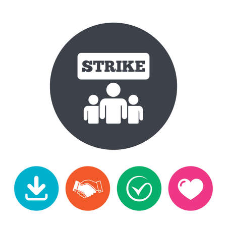 activists: Strike sign icon. Group of people symbol. Industrial action. People protest. Download arrow, handshake, tick and heart. Flat circle buttons. Illustration