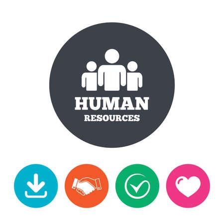 organization: 인적 자원 아이콘을 서명합니다. HR 기호입니다. 비즈니스 조직의 인력. 사람들의 그룹입니다. 다운로드 화살표, 핸드 셰이크, 눈금 및 심장입니다. 플랫 원 버튼.