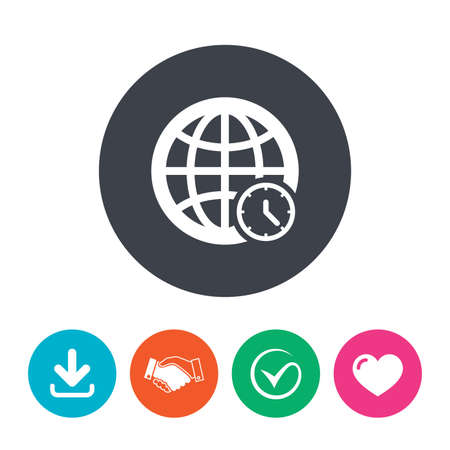 universal love: World time sign icon. Universal time globe symbol. Download arrow, handshake, tick and heart. Flat circle buttons. Vectores