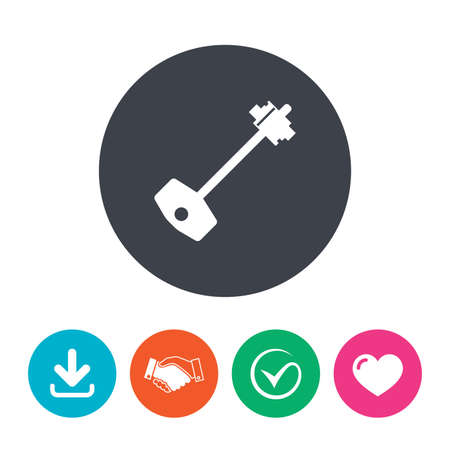 door lock love: Key sign icon. Unlock tool symbol. Download arrow, handshake, tick and heart. Flat circle buttons.