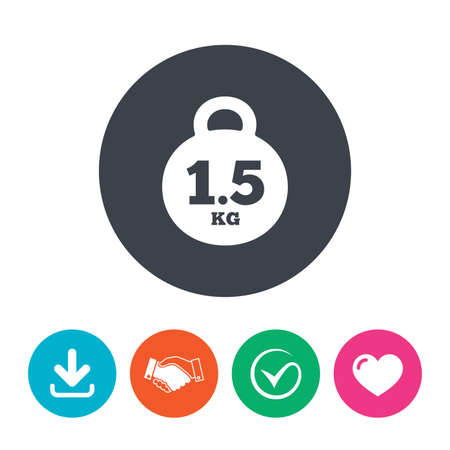 kilogram: Weight sign icon. 1.5 kilogram (kg). Envelope mail weight. Download arrow, handshake, tick and heart. Flat circle buttons. Illustration