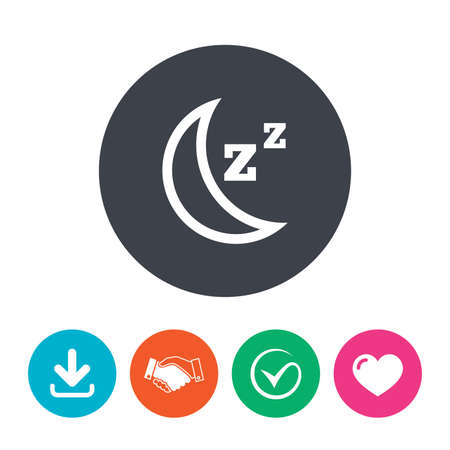 zzz: Sleep sign icon. Moon with zzz button. Standby. Download arrow, handshake, tick and heart. Flat circle buttons.