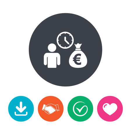 fast money: Bank loans sign icon. Get money fast symbol. Borrow money. Download arrow, handshake, tick and heart. Flat circle buttons.