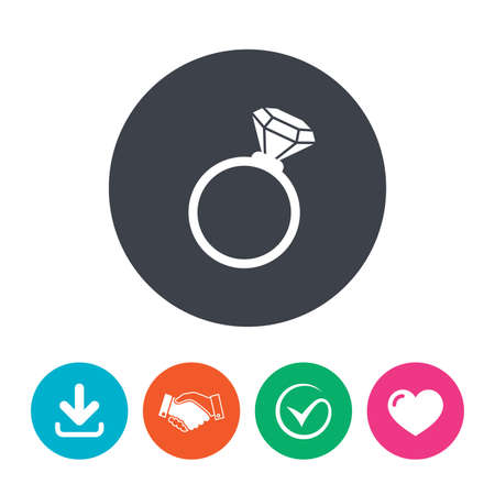 fiance: Ring sign icon. Jewelry with diamond symbol. Wedding or engagement day symbol. Download arrow, handshake, tick and heart. Flat circle buttons.
