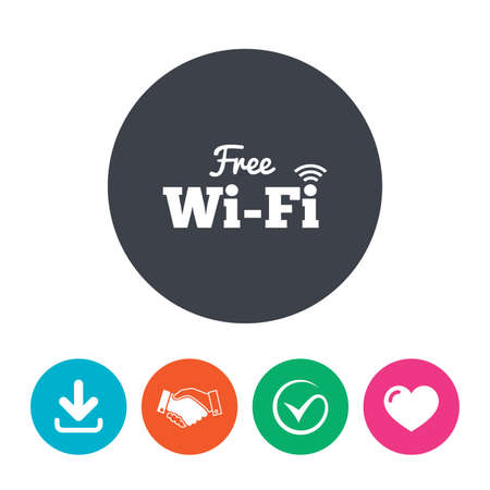Free wifi sign. Wifi symbol. Wireless Network icon. Wifi zone. Download arrow, handshake, tick and heart. Flat circle buttons.