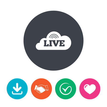 live on air: Live sign icon. On air stream symbol. Download arrow, handshake, tick and heart. Flat circle buttons.