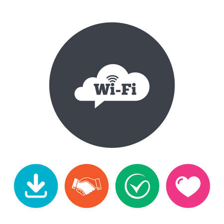 free speech: Free wifi sign. Wifi symbol. Wireless Network icon. Wifi zone. Download arrow, handshake, tick and heart. Flat circle buttons.