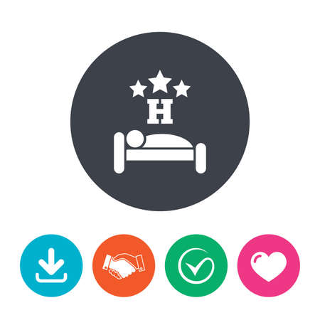 sleeper: Three star Hotel apartment sign icon. Travel rest place. Sleeper symbol. Download arrow, handshake, tick and heart. Flat circle buttons.