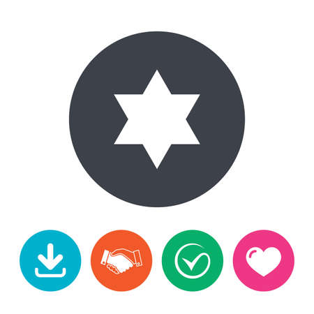 hexagram: Star of David sign icon. Symbol of Israel. Jewish hexagram symbol. Shield of David. Download arrow, handshake, tick and heart. Flat circle buttons.