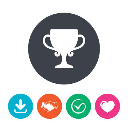 awarding: Winner cup sign icon. Awarding of winners symbol. Trophy. Download arrow, handshake, tick and heart. Flat circle buttons. Illustration