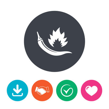 spicy food: Hot chili pepper sign icon. Spicy food fire symbol. Download arrow, handshake, tick and heart. Flat circle buttons.