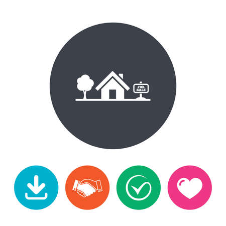 house for sale: Home sign icon. House for sale. Broker symbol. Download arrow, handshake, tick and heart. Flat circle buttons.