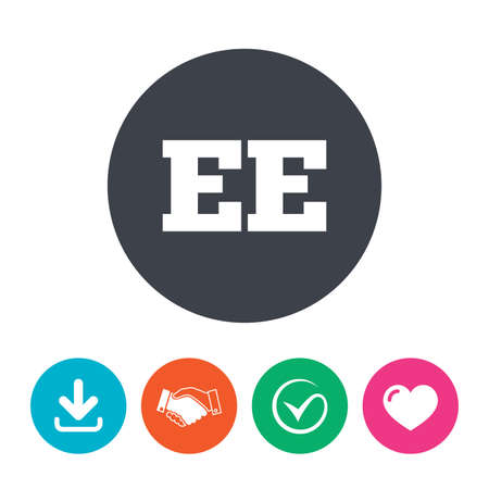 ee: Estonian language sign icon. EE translation symbol. Download arrow, handshake, tick and heart. Flat circle buttons.