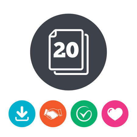 20: In pack 20 sheets sign icon. 20 papers symbol. Download arrow, handshake, tick and heart. Flat circle buttons. Illustration