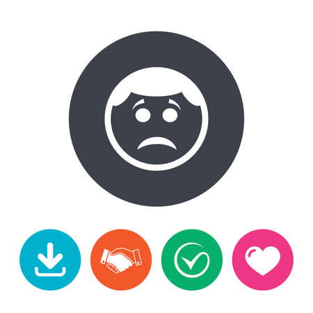 sadness: Sad face sign icon. Sadness depression chat symbol. Download arrow, handshake, tick and heart. Flat circle buttons.