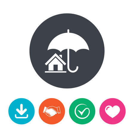 belay: Home insurance sign icon. Real estate insurance symbol. Download arrow, handshake, tick and heart. Flat circle buttons. Illustration