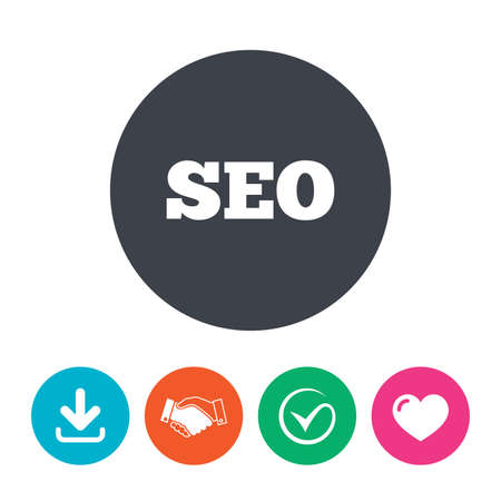 meta analysis: SEO sign icon. Search Engine Optimization symbol. Download arrow, handshake, tick and heart. Flat circle buttons.