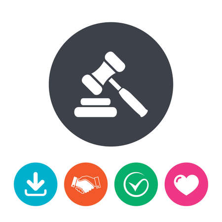 judge gavel: Auction hammer icon. Law judge gavel symbol. Download arrow, handshake, tick and heart. Flat circle buttons.