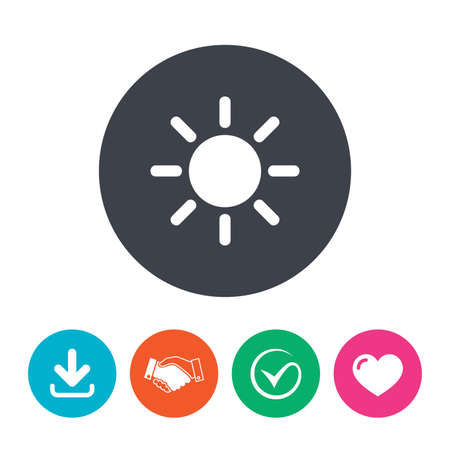 solarium: Sun sign icon. Solarium symbol. Heat button. Download arrow, handshake, tick and heart. Flat circle buttons.