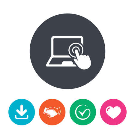 flat screen: Touch screen laptop sign icon. Hand pointer symbol. Download arrow, handshake, tick and heart. Flat circle buttons.