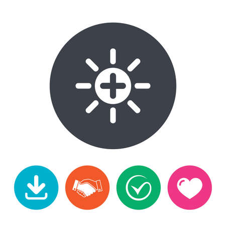 brightness: Sun plus sign icon. Heat symbol. Brightness button. Download arrow, handshake, tick and heart. Flat circle buttons.