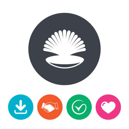 conch shell: Sea shell sign icon. Conch symbol. Travel icon. Download arrow, handshake, tick and heart. Flat circle buttons.