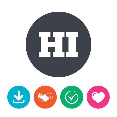 hindi: Hindi language sign icon. HI India translation symbol. Download arrow, handshake, tick and heart. Flat circle buttons. Illustration